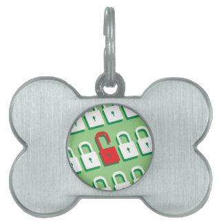 Panel of locks with one lock unlocked Security Pet ID Tag