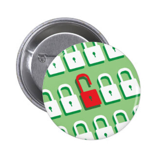 Panel of locks with one lock unlocked Security Pinback Button
