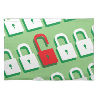 Panel of locks with one lock unlocked Security Placemat