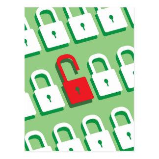 Panel of locks with one lock unlocked Security Postcard