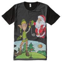 Panel T-Shirt Christmas T-shirts Santa Golfing