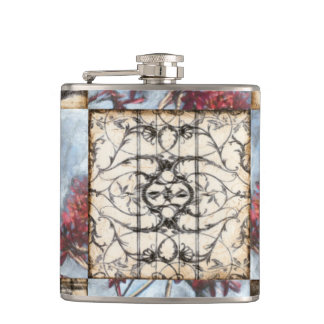 Paneled Abstract Scrollwork Painting Flask