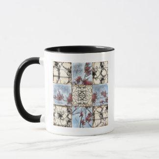 Paneled Abstract Scrollwork Painting Mug