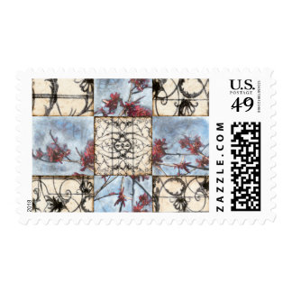 Paneled Abstract Scrollwork Painting Postage