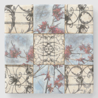 Paneled Abstract Scrollwork Painting Stone Coaster