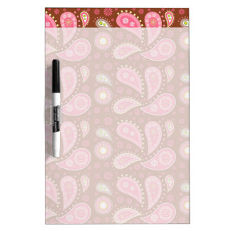 Panels of Pink Paisley Dry-Erase Board