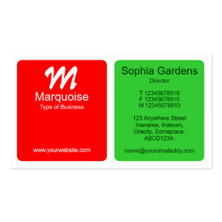 Panels - Red with Spring Green Business Cards
