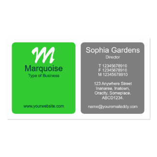 Panels - Spring Green with Gray Business Card Templates