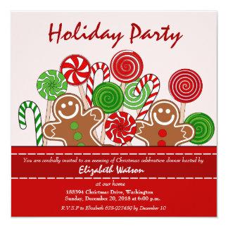 Panes de jengibre rojos lindos del navidad invitacion personal