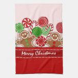 Panes de jengibre rojos lindos del navidad toallas