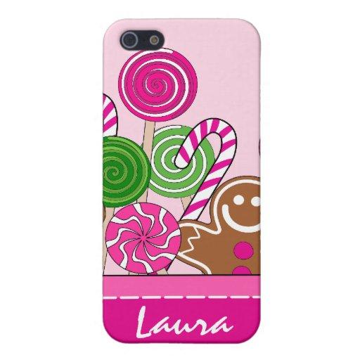 Panes de jengibre rosados lindos del navidad iPhone 5 fundas