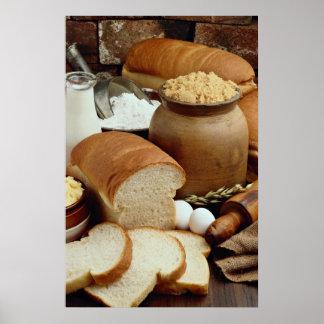 panes del Hogar-estilo con los ingredientes Póster