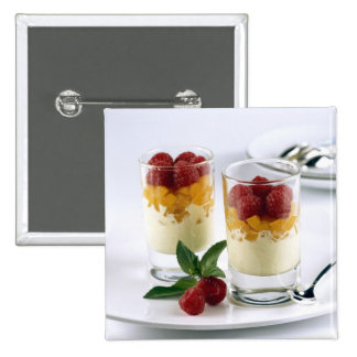 Panful of mango on a vanilla ice-cream For Pinback Buttons