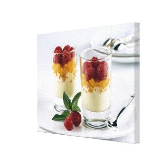 Panful of mango on a vanilla ice-cream For Canvas Print