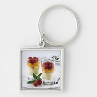 Panful of mango on a vanilla ice-cream For Silver-Colored Square Keychain