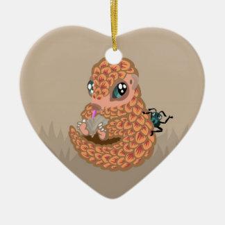 Pangolin del bebé con la hormiga adorno navideño de cerámica en forma de corazón