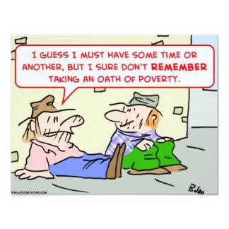 """panhandler de la pobreza del juramento invitación 4.25"""" x 5.5"""""""