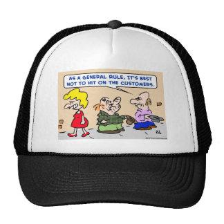 panhandler hit on customers trucker hat