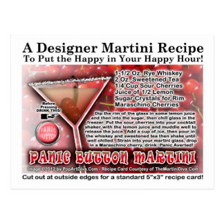 Panic Button Martini Recipe Postcard