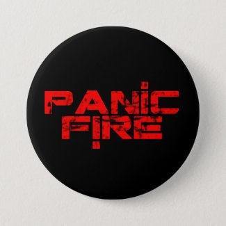 PANIC FIRE overunder red logo Pinback Button