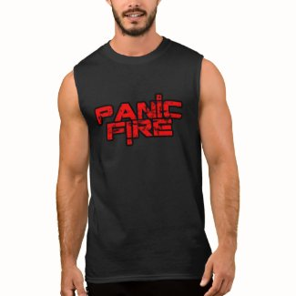 PANIC FIRE overunder red logo Sleeveless Shirt