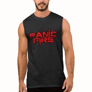 PANIC FIRE overunder red logo Sleeveless Shirt