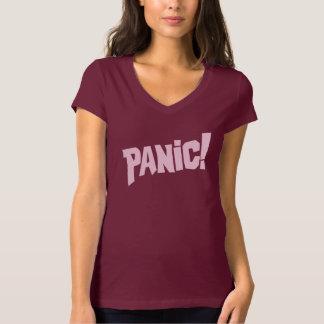 Panic! ladies pink text graphic slogan tee