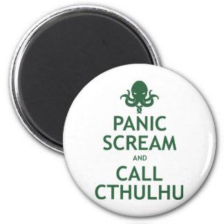 Panic Scream and Call Cthulhu 2 Inch Round Magnet