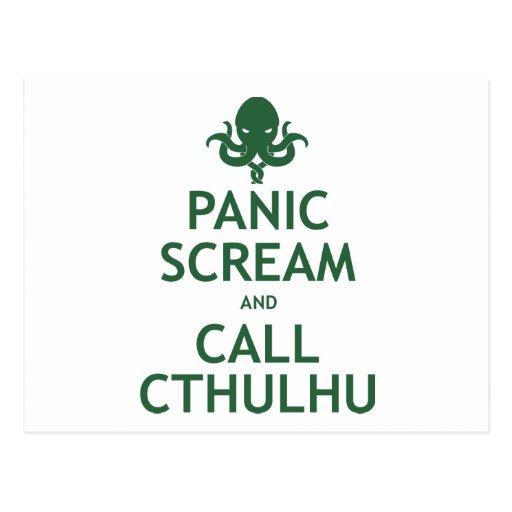 Panic Scream and Call Cthulhu Postcard