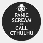 Panic Scream and Call Cthulhu Round Sticker