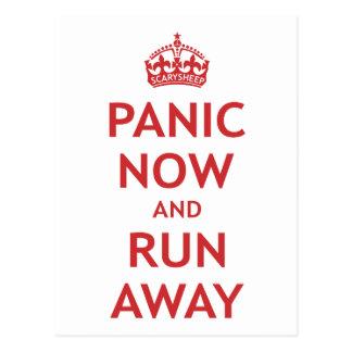 Pánico ahora y funcionamiento lejos tarjetas postales