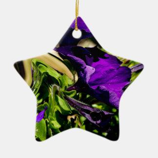 Pánico púrpura adorno de cerámica en forma de estrella