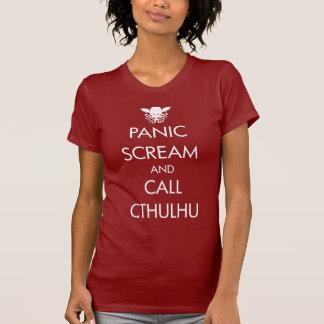 Pánico y llamada Cthulhu del grito T Shirts