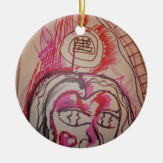 PanIntra Modality Double-Sided Ceramic Round Christmas Ornament