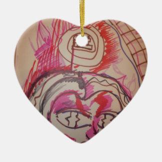 PanIntra Modality Double-Sided Heart Ceramic Christmas Ornament