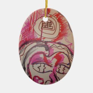 PanIntra Modality Double-Sided Oval Ceramic Christmas Ornament