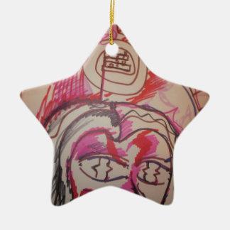 PanIntra Modality Double-Sided Star Ceramic Christmas Ornament