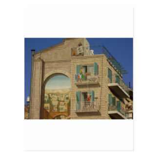 Panited wall of a house in Jerusalem Postcard