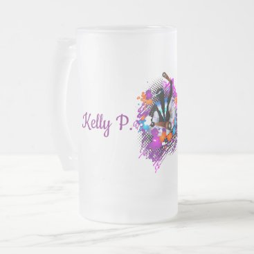 Beach Themed PanMan in Glory (Personalized) Frosted Glass Beer Mug