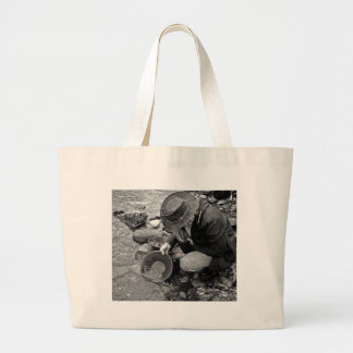 Panning for Gold Black and White Canvas Bags
