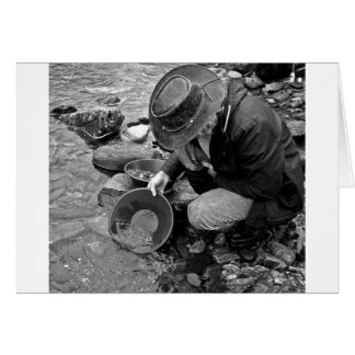 Panning for Gold Black and White Greeting Card