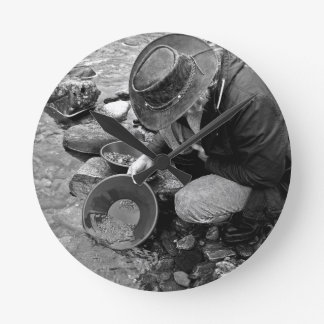 Panning for Gold Black and White Clock