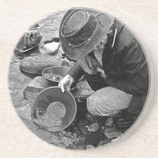 Panning for Gold Black and White Drink Coaster