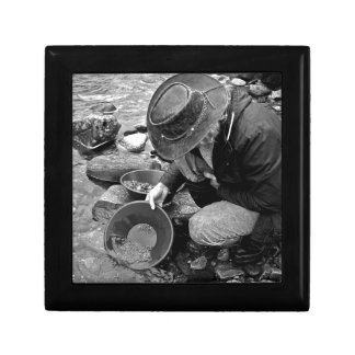 Panning for Gold Black and White Jewelry Boxes