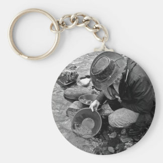 Panning for Gold Black and White Key Chains