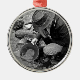 Panning for Gold Black and White Metal Ornament