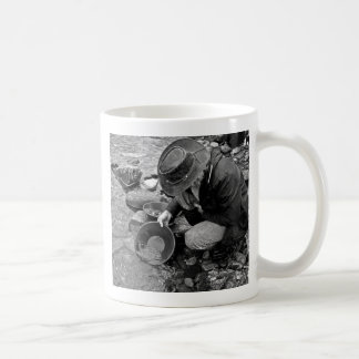 Panning for Gold Black and White Coffee Mug