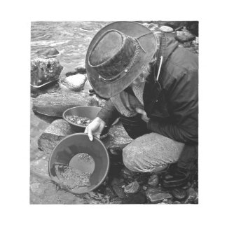 Panning for Gold Black and White Notepad