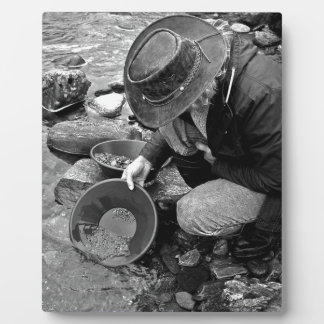 Panning for Gold Black and White Display Plaques