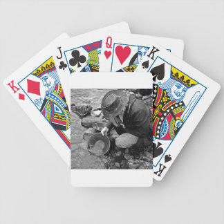 Panning for Gold Black and White Poker Deck